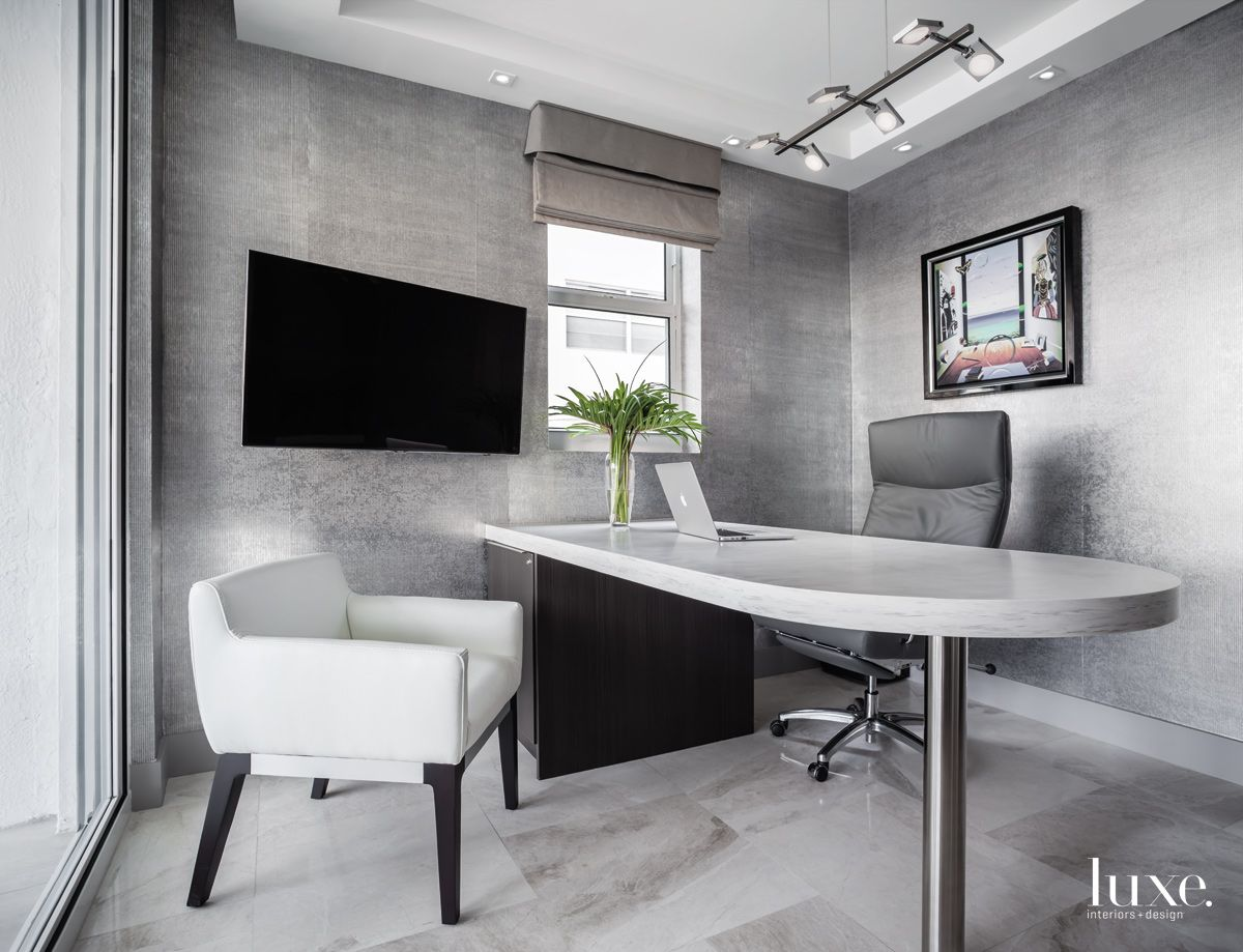 Warm Grey Office in Fort Lauderdale Condo