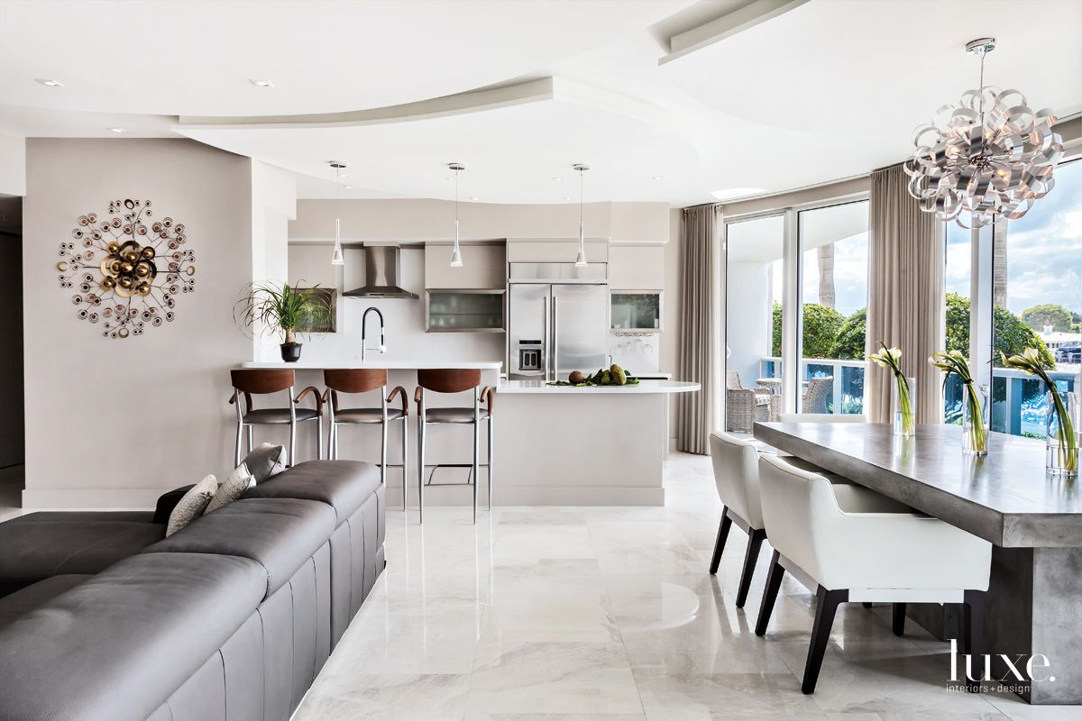 Modern, Neutral Kitchen in Fort Lauderdale Condo