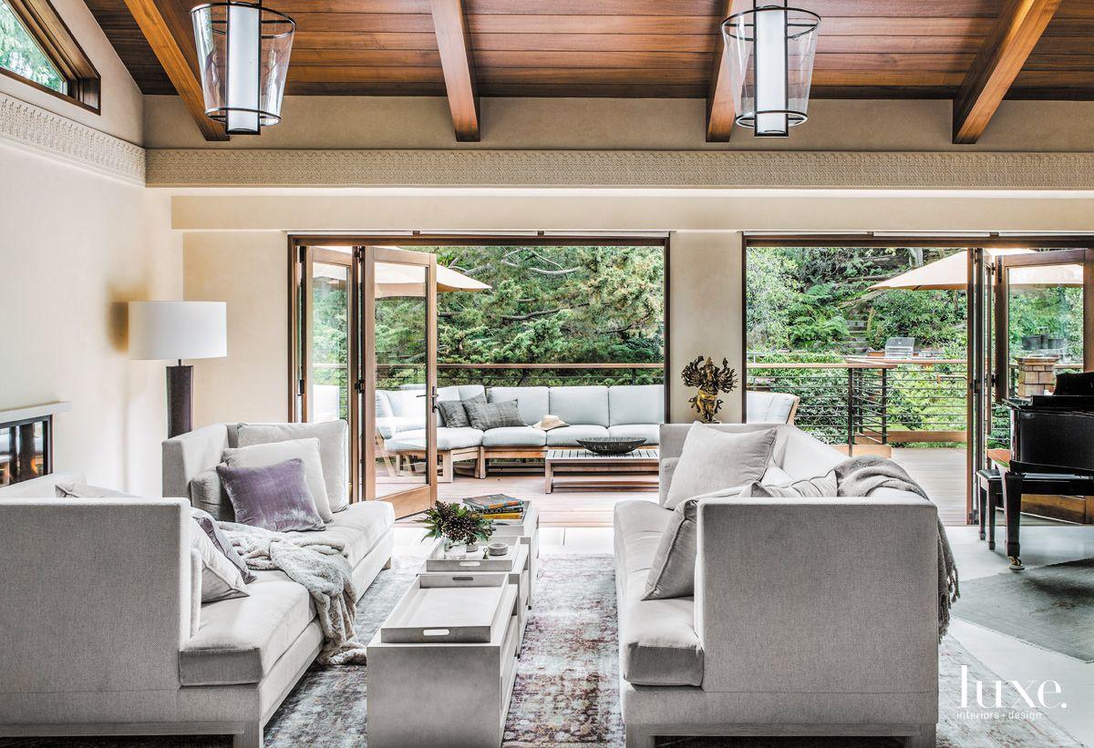 Soft Blue Indoor-Outdoor Living Room in Berkely Contemporary