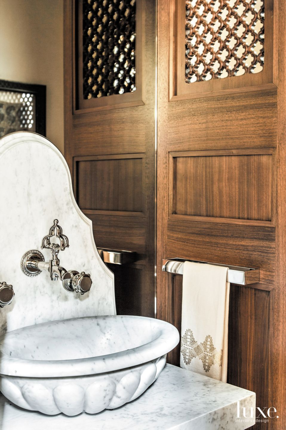 Carved Marble Sink in Berkeley Contemporary