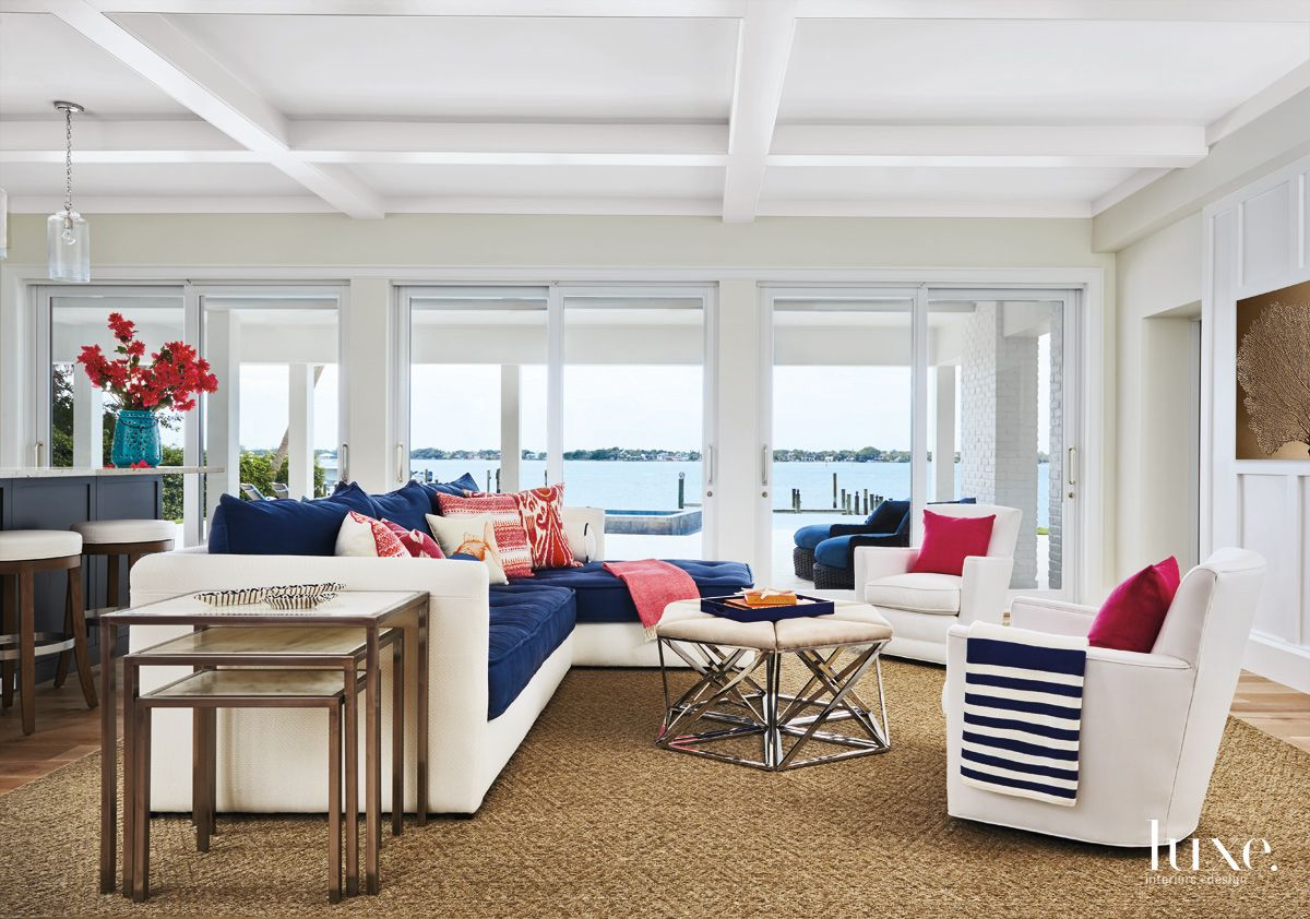 Pops of Color in Palm Beach Living Room