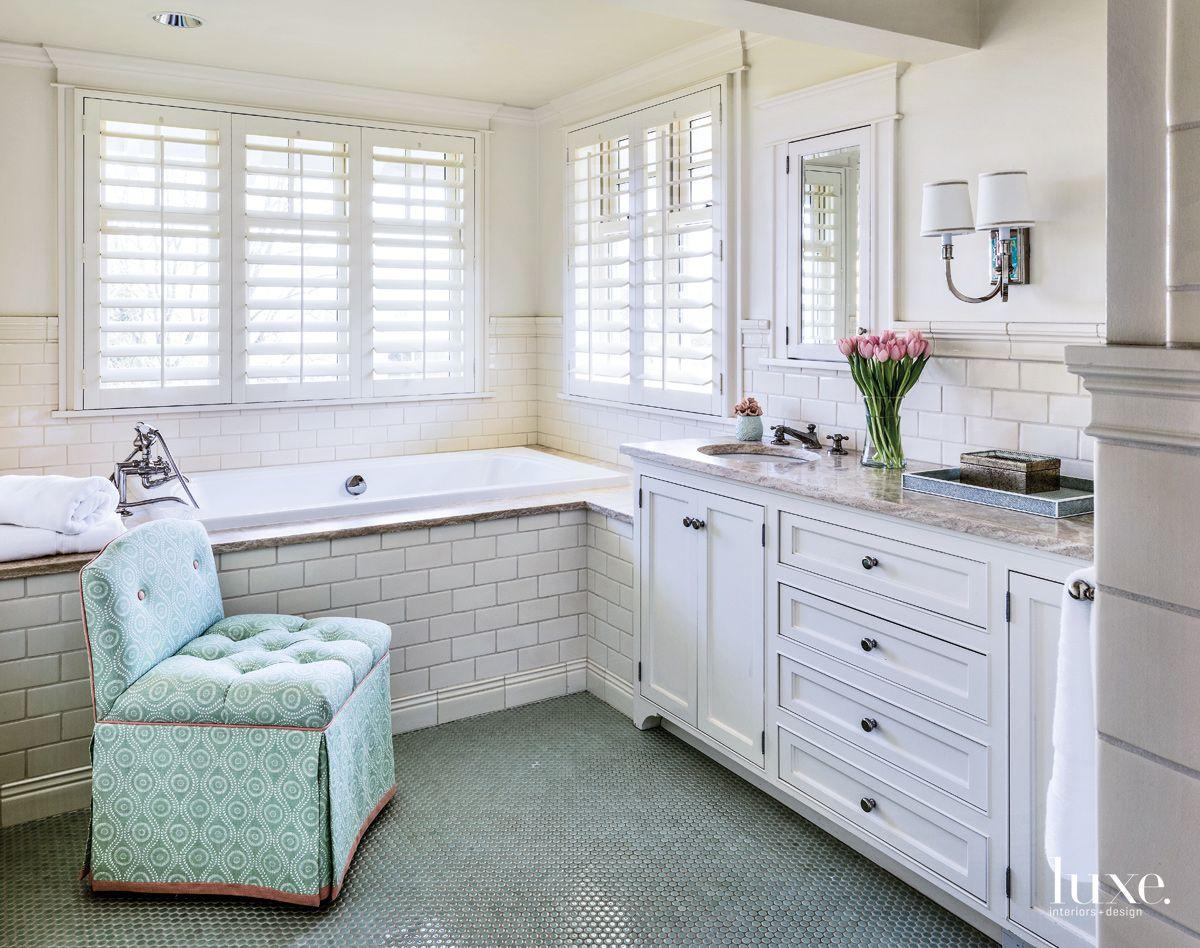Penny Tiles & Subway Tiles in Master Bedroom
