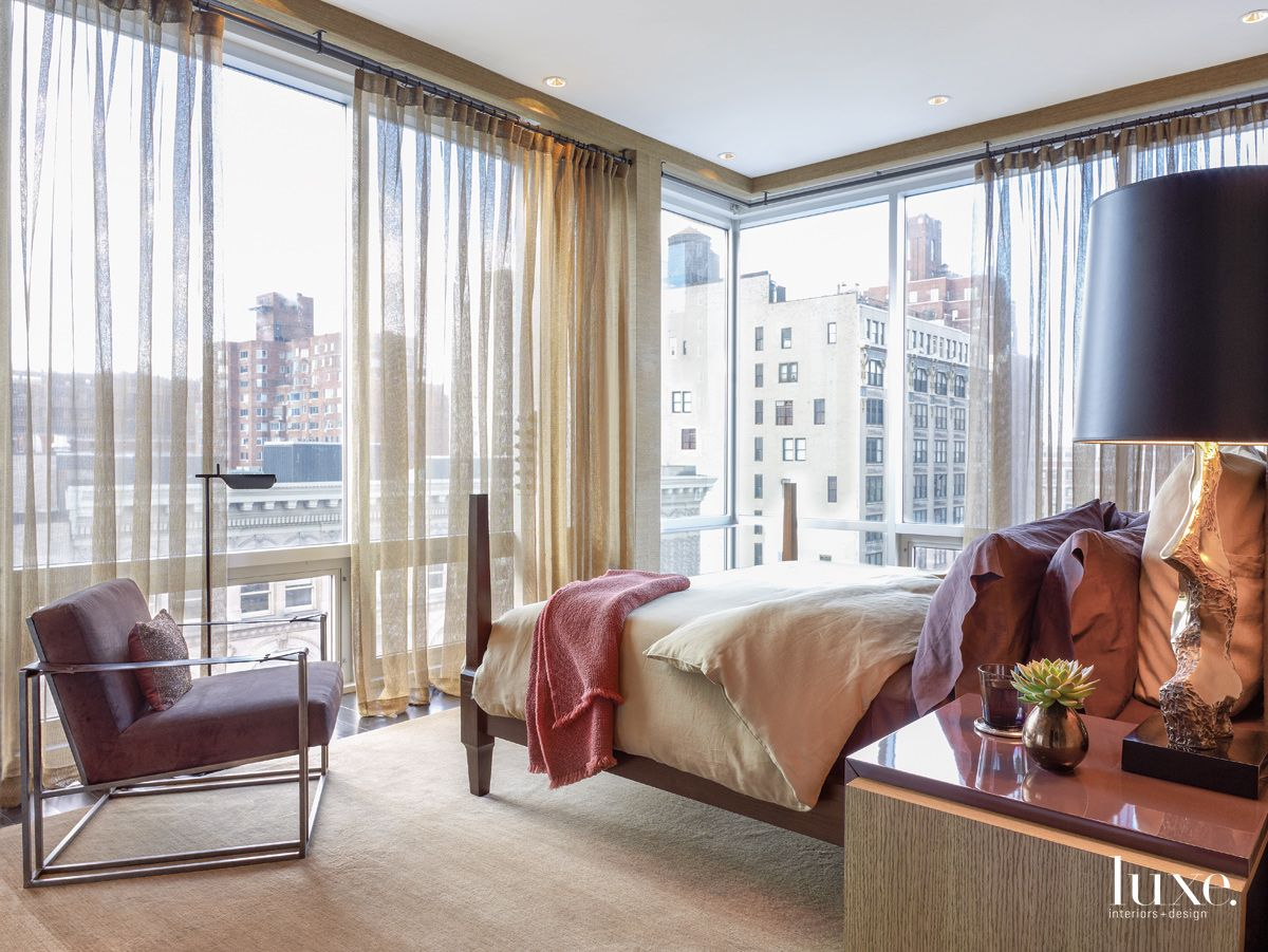 New York City Master Bedroom with Floor-to-Ceiling Windows