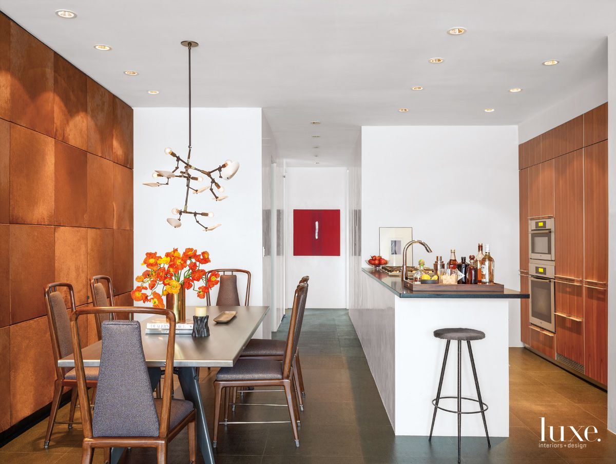 Room for Conversation in Fashionable New York City Kitchen