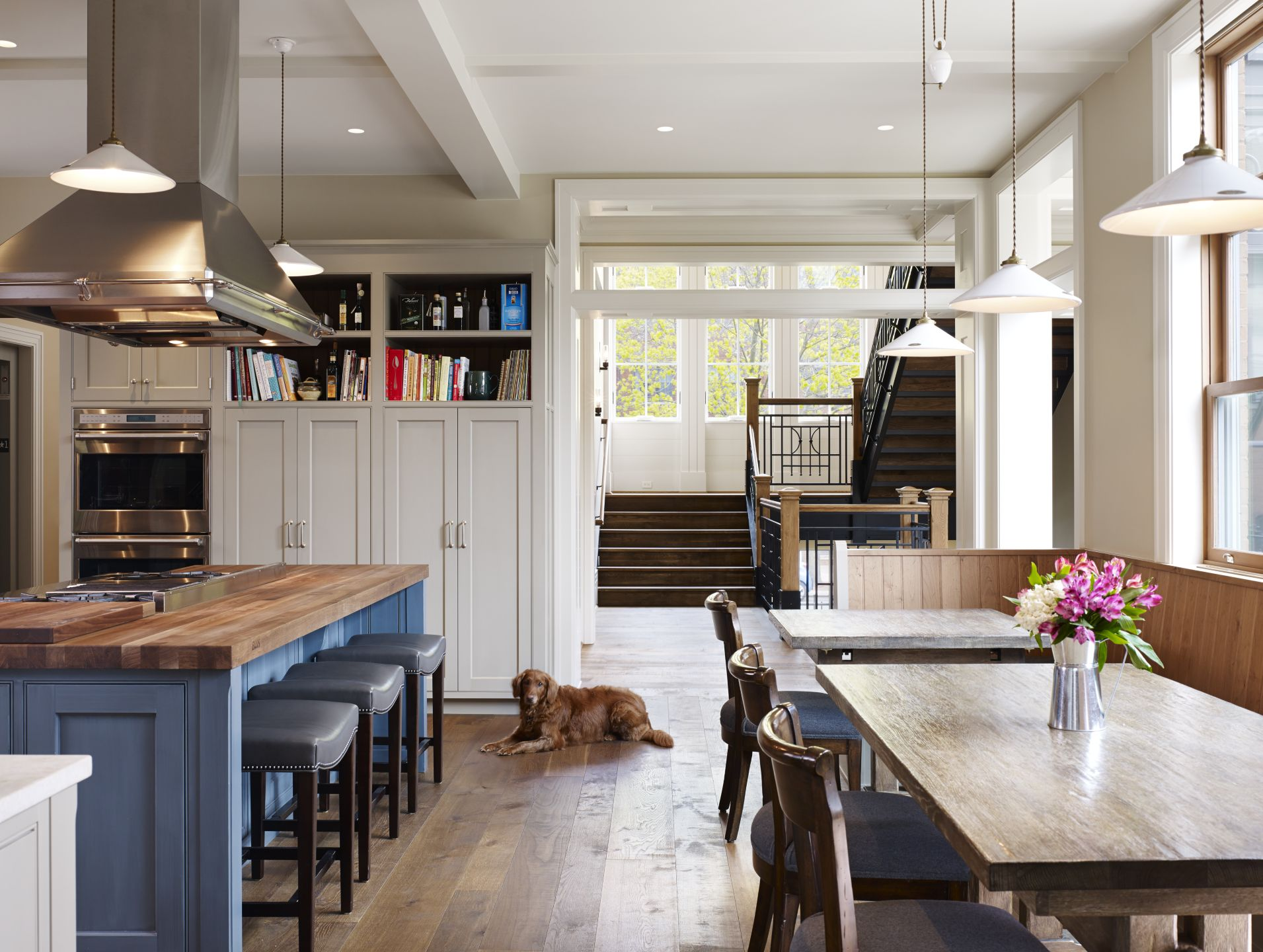 Modern Neutral Kitchen with Butcher-Block Topped Island