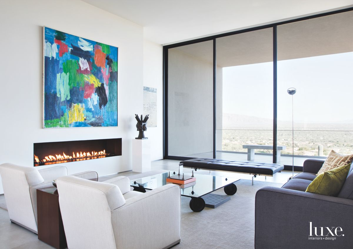 White Contemporary Tucson Living Room