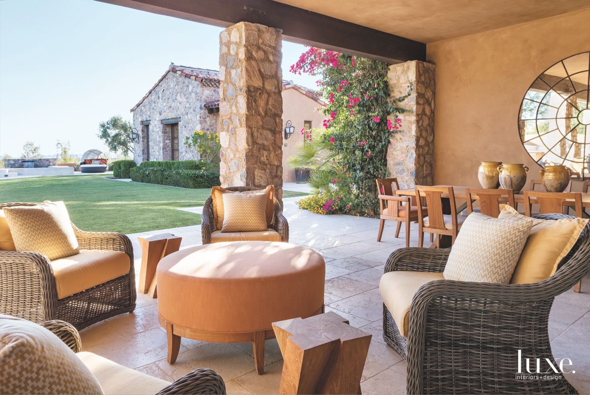 Patio With Living and Dining Areas in Traditional Scottsdale Home