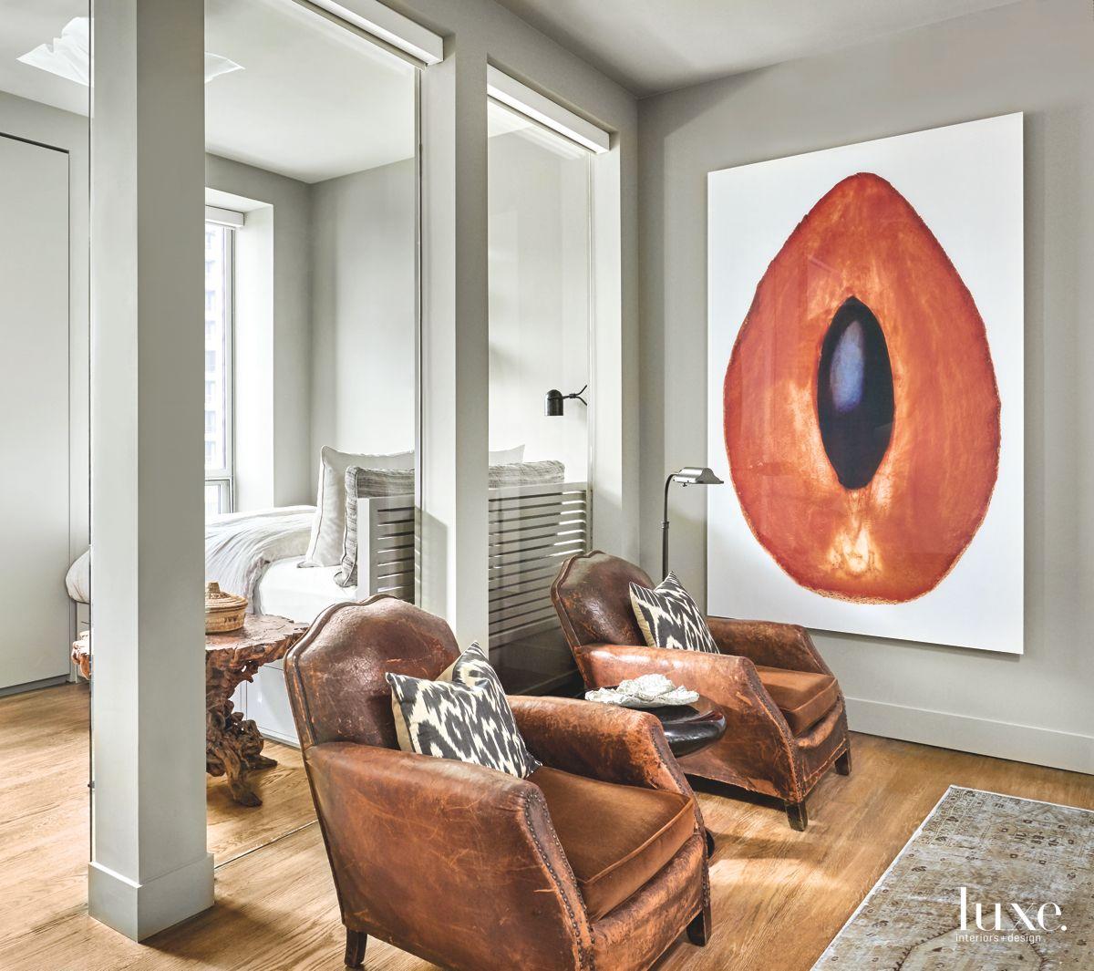 Contemporary Sitting Area in Chicago Condo
