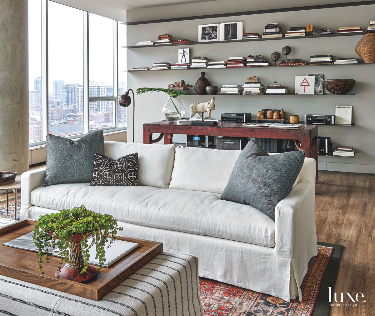 Antique Touches in Contemporary Chicago Living Room