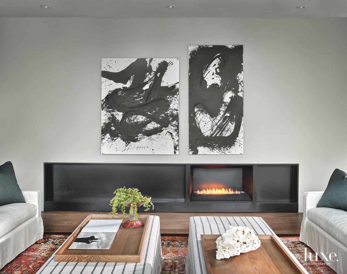 Bold Artwork Dominates Contemporary Chicago Living Room
