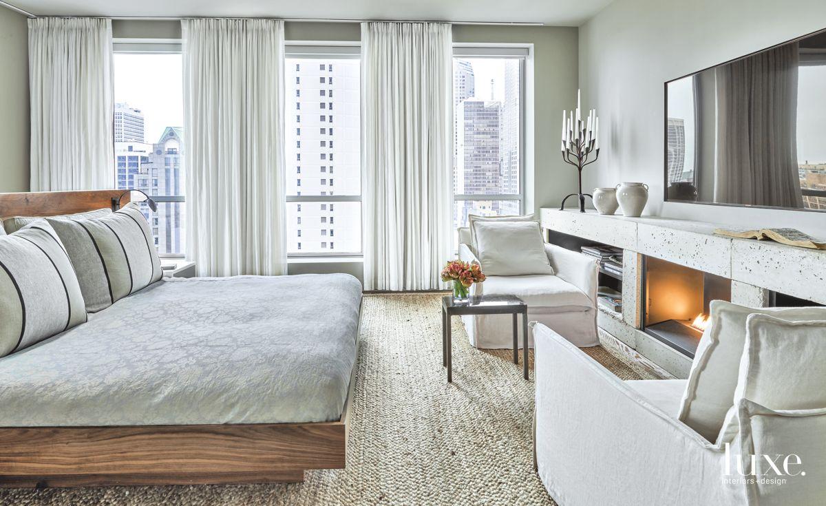Rich, Organic Contemporary Master Bedroom in Chicago Condo