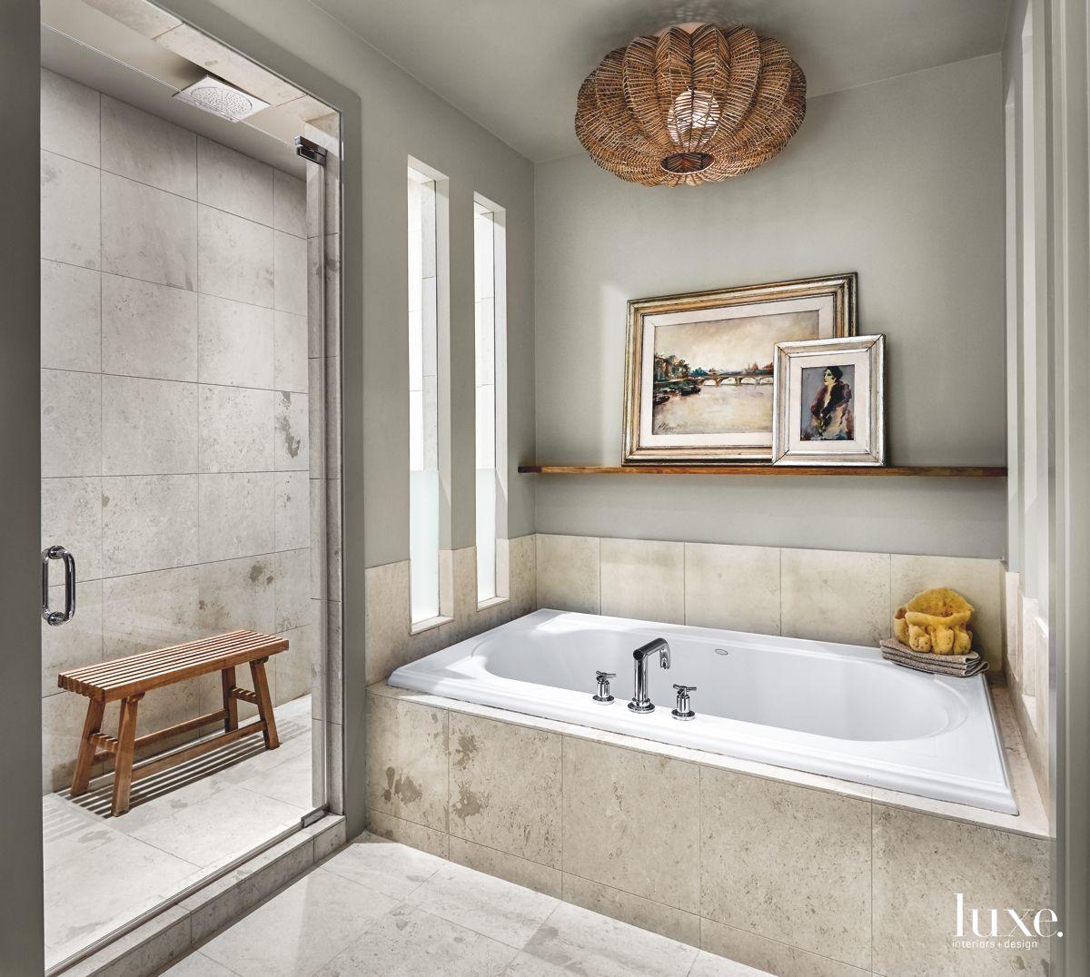 Warm, Stylish Contemporary Master Bath in Chicago Condo