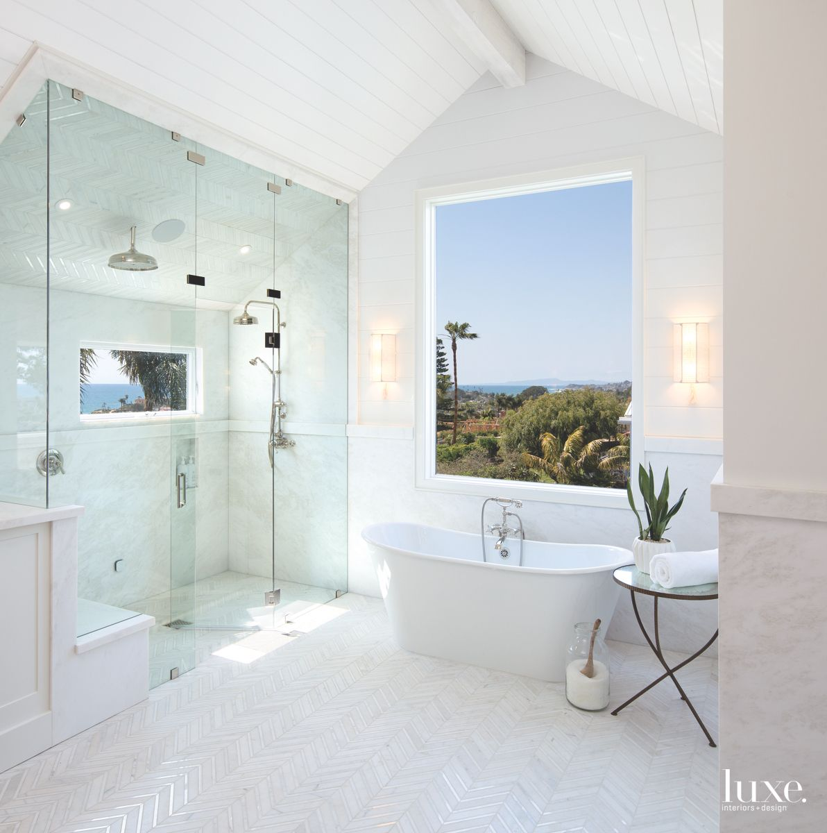 Beachy, White Master Bath in Modern Solana Beach Home