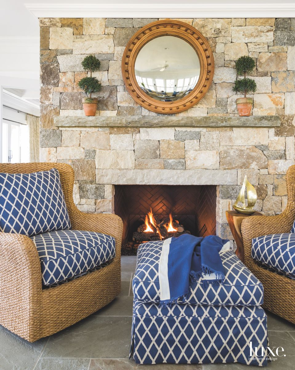 Four-Seasons Room Fireplace in Shelter Island Home