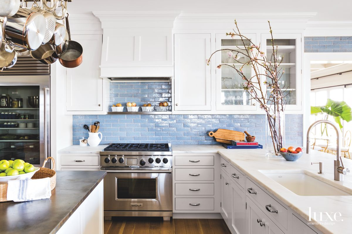 Blue-Infused Traditional Kitchen in Shelter Island Home
