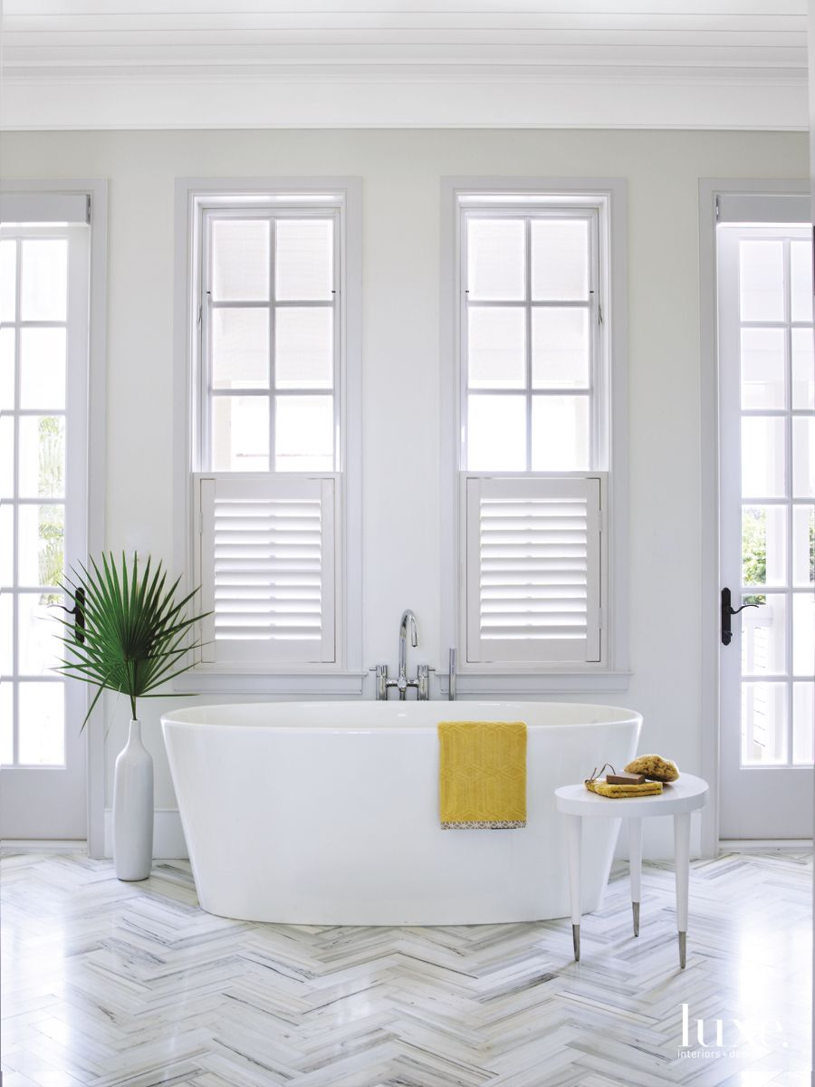 White and Bright Master Bathroom in Seaside Palm Beach Home
