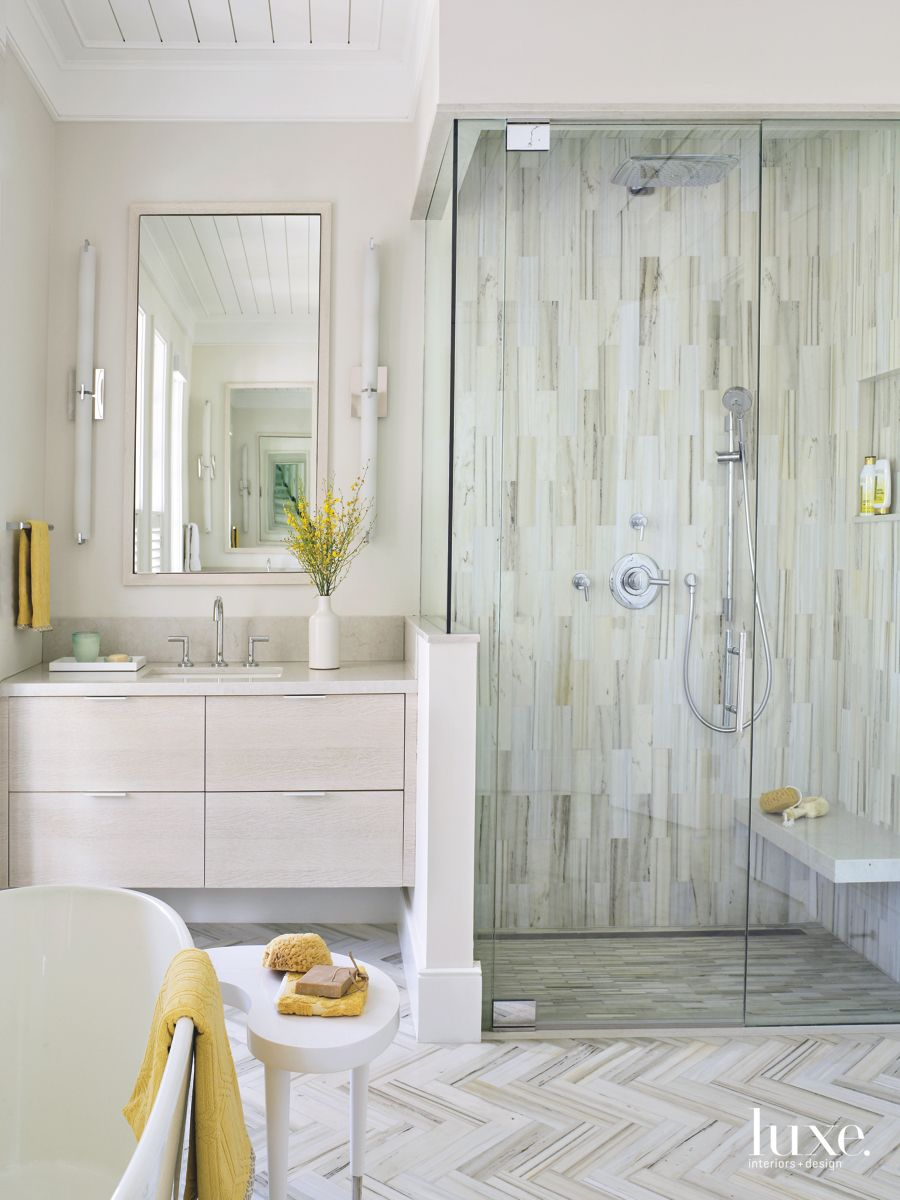 Contemporary Touches In Traditional Palm Beach Bathroom