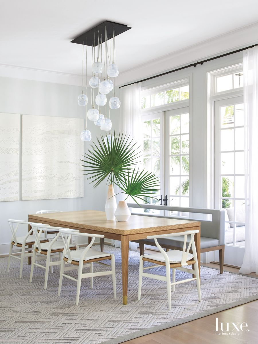Airy, White Dining Room in Traditional Palm Beach Home