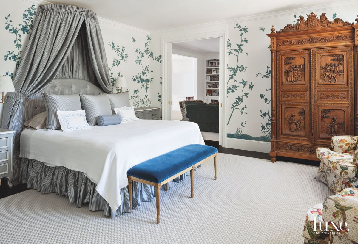 Silk Patterend Wallcovering in Dramatic Dallas Master Bedroom