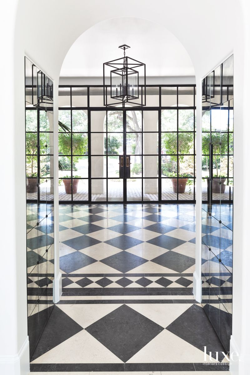 Black and White Foyer in Traditional Dallas Home
