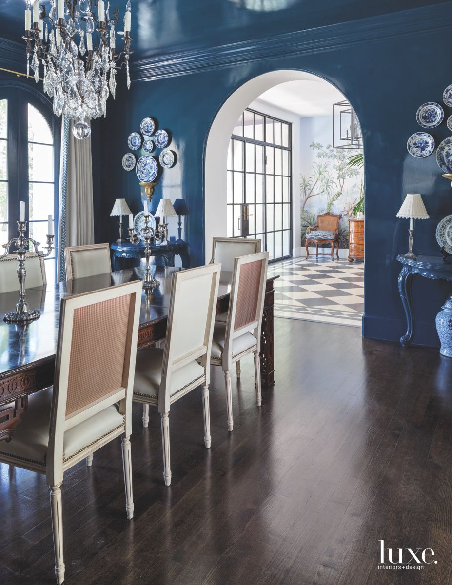 Deeply Hued Dining Room in Dramatic Dallas Home