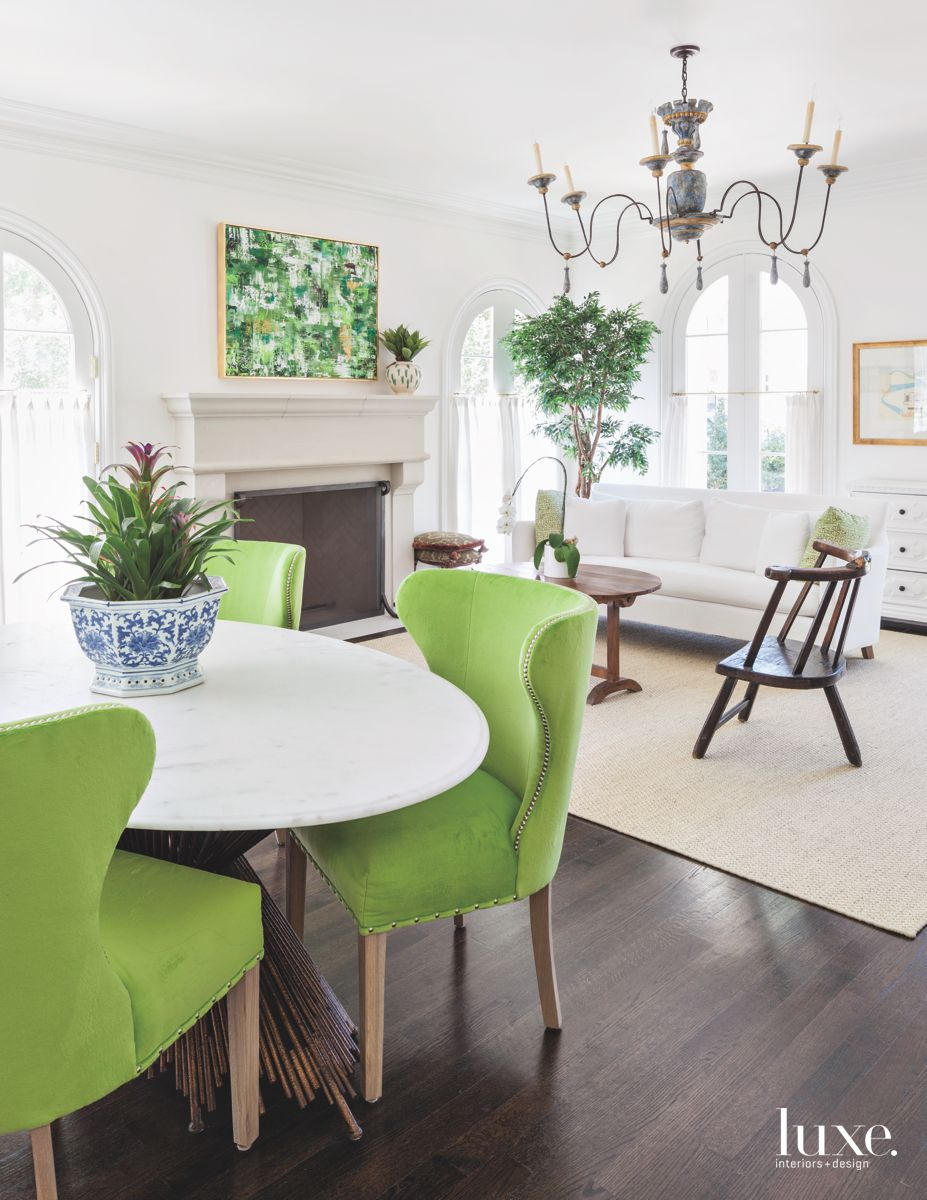 Green Adds Personality to White Kitchen in Traditional Dallas Home