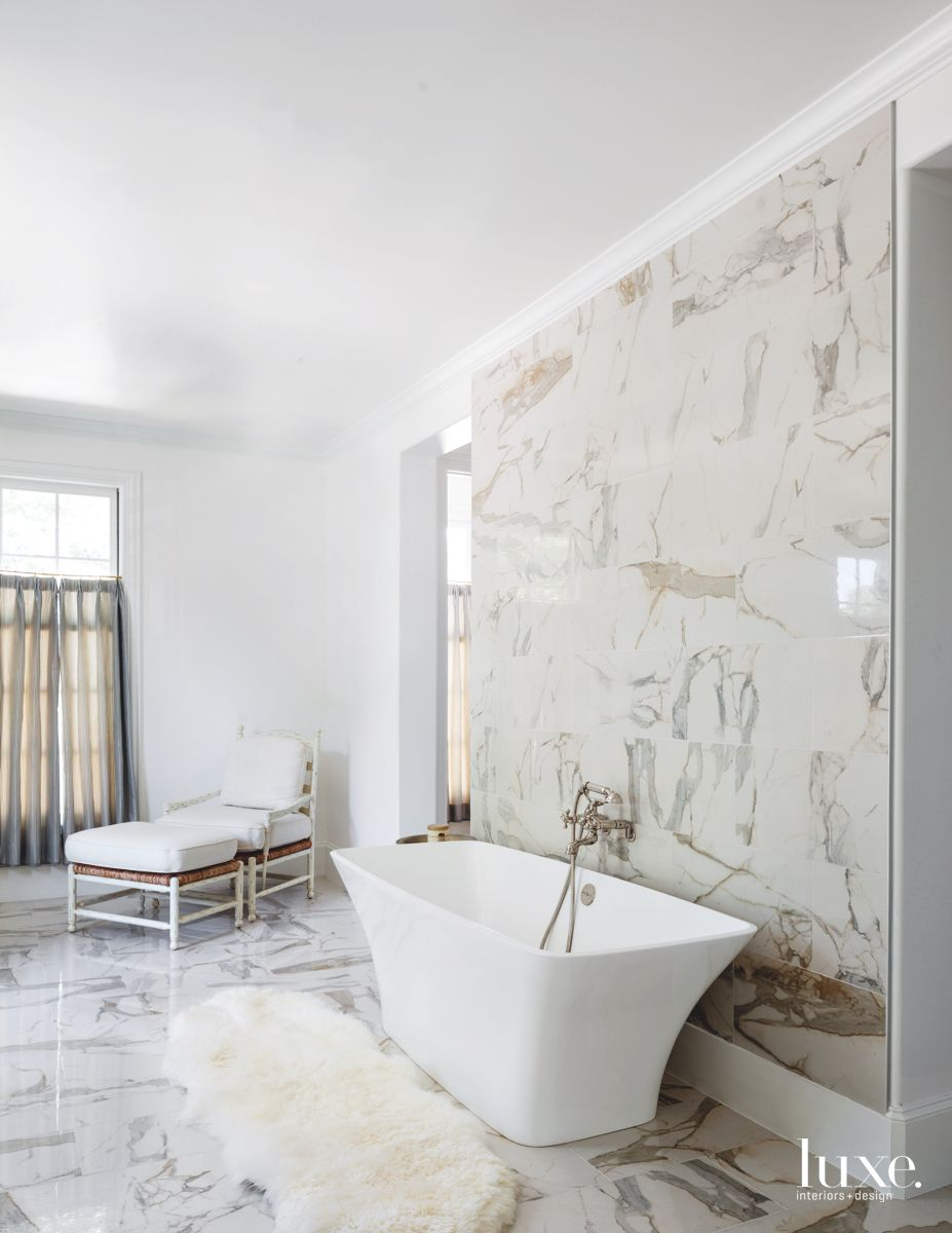 Modern Marble Master Bath in Traditional Dallas Home