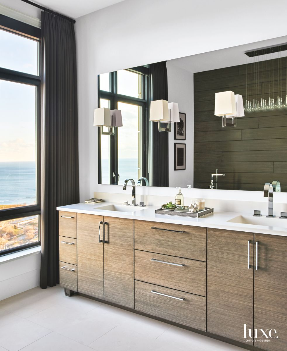 Custom Mirror Reflects Stunning View in Contemporary Chicago Master Bath
