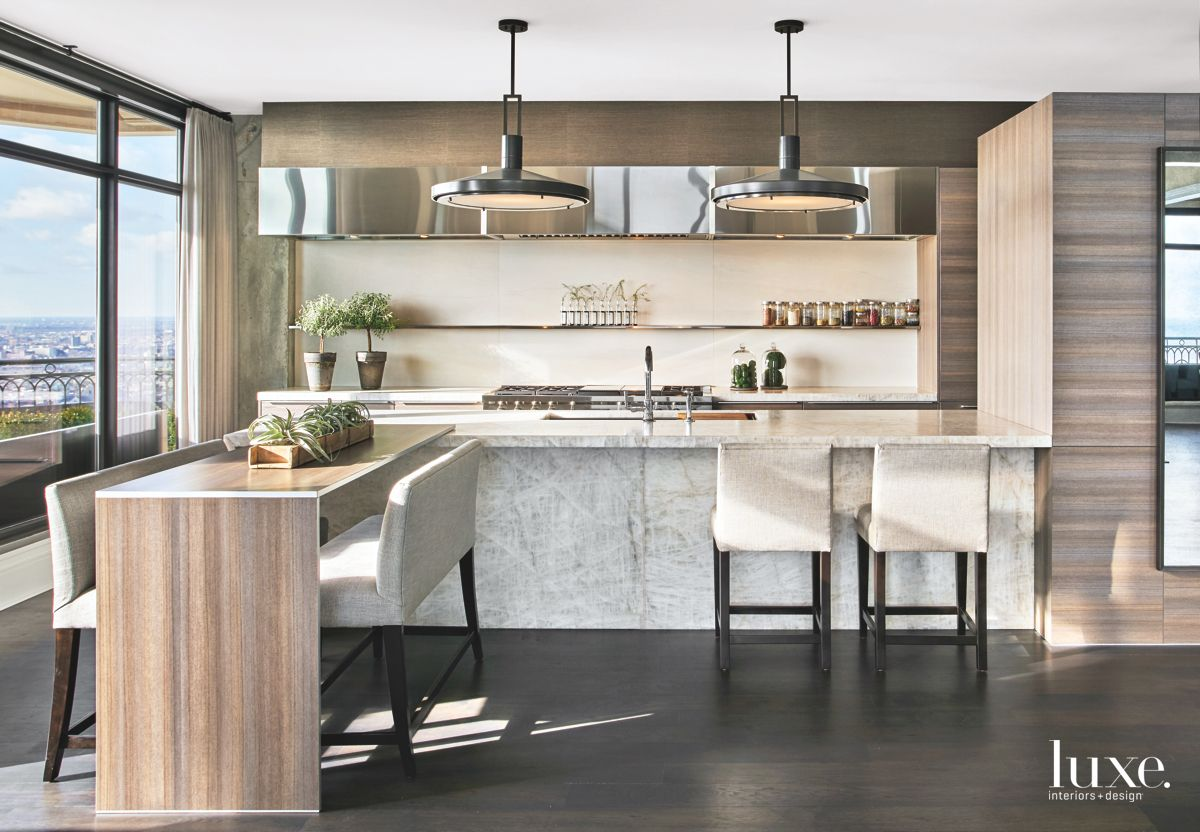 Open Kitchen Blends With Living Room in Contemporary Chicago Apartment