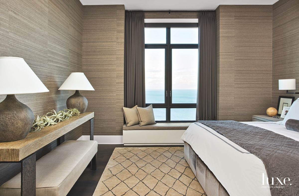Organic, Textured Wallcoverings in Contemporary Chicago Master Bedroom