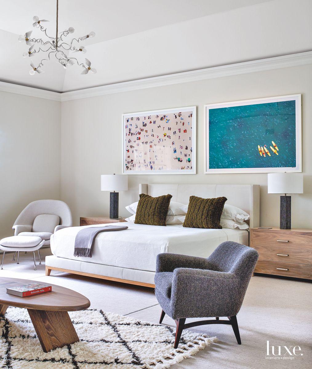 A Nod to the Beach in Comfortable Bridgehampton Master Bedroom