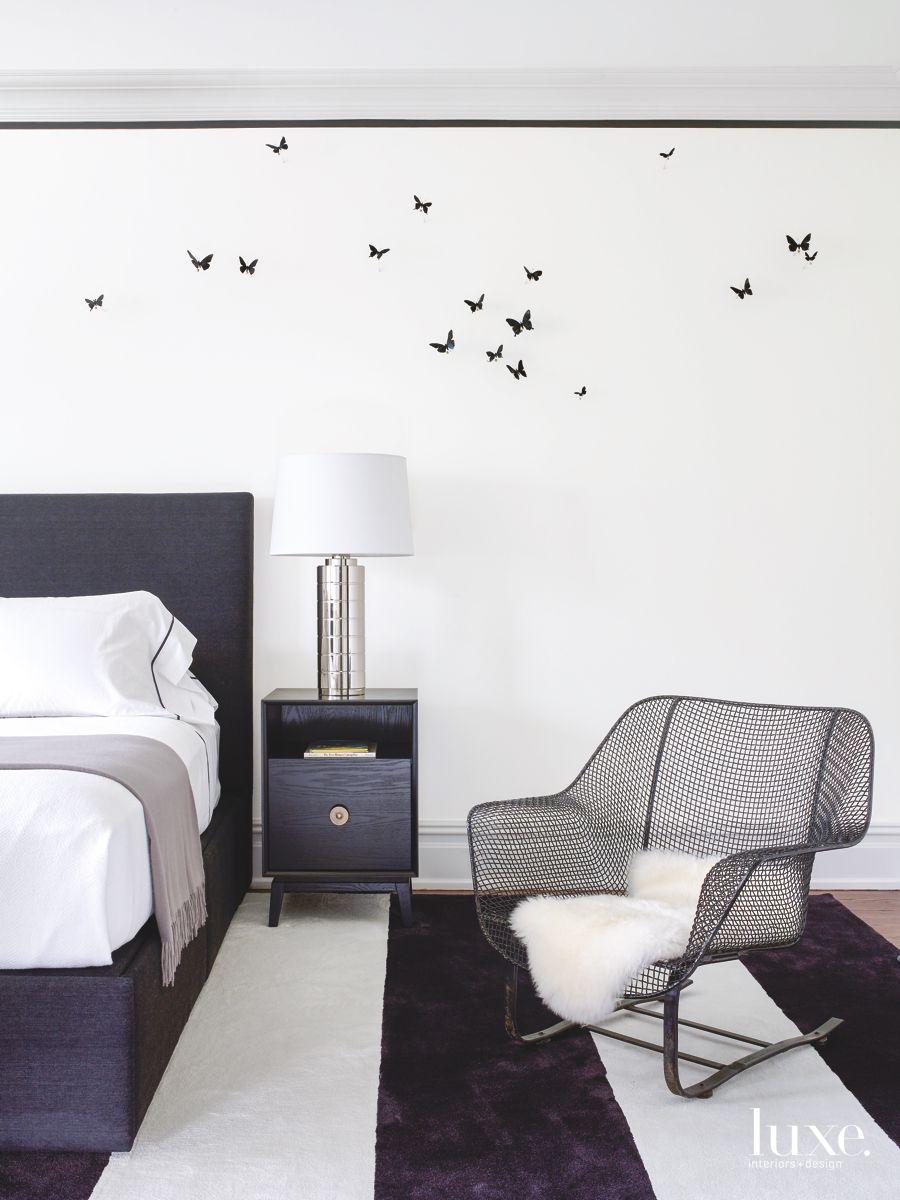 Comfortable Black & White Guest Room in Spacious Bridgehampton Home