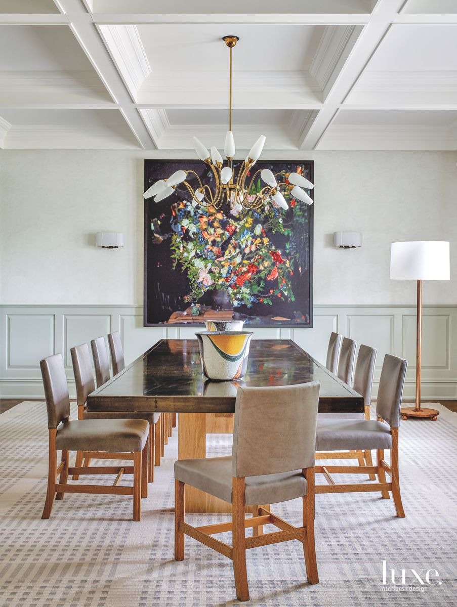 Dining Room with Custom Dining Table to Seat 14 in Bridgehampton Home