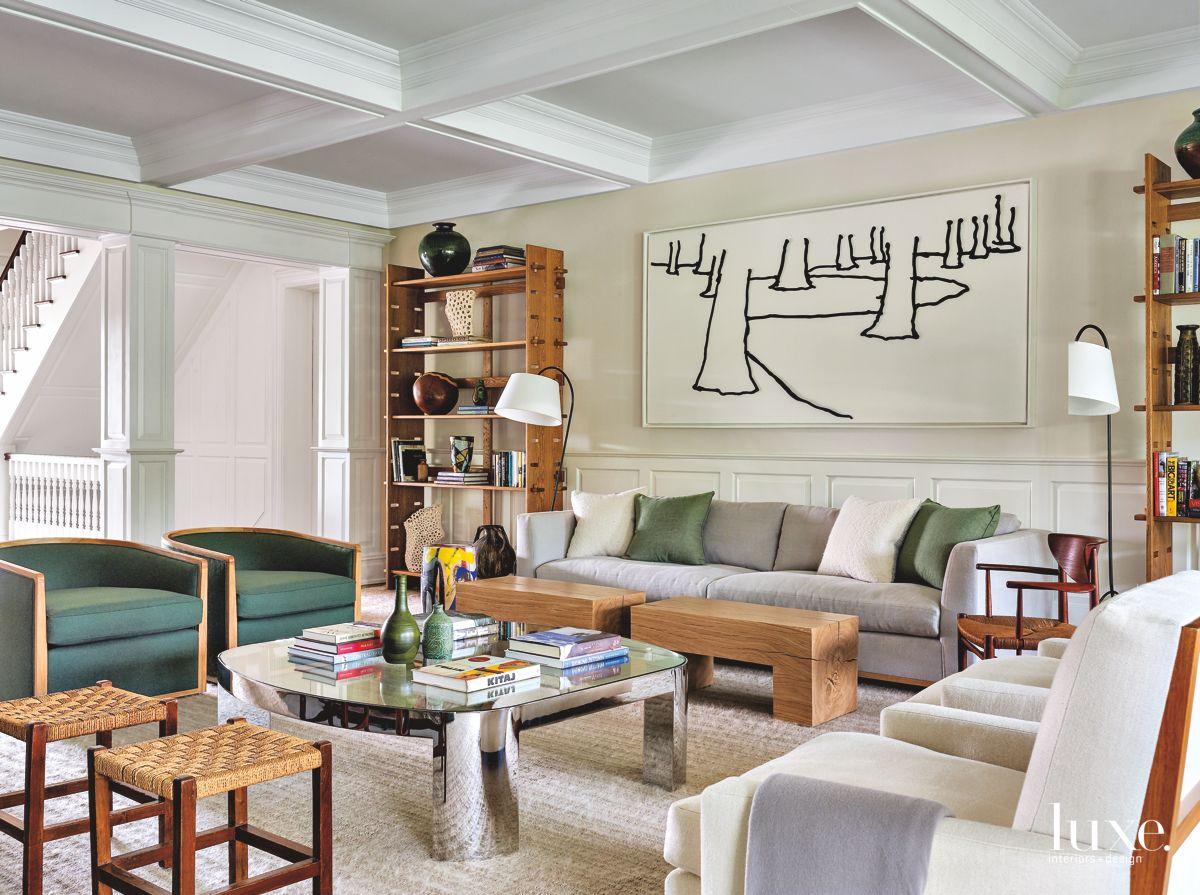 Dressy & Informal Living Room in Colorful Bridgehampton Home