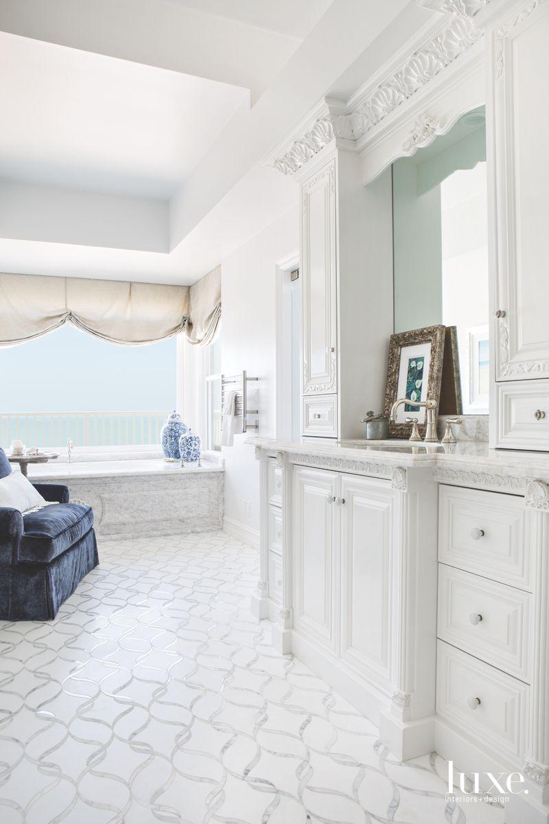 Ethereal, White Master Bathroom in Dana Point Beach House