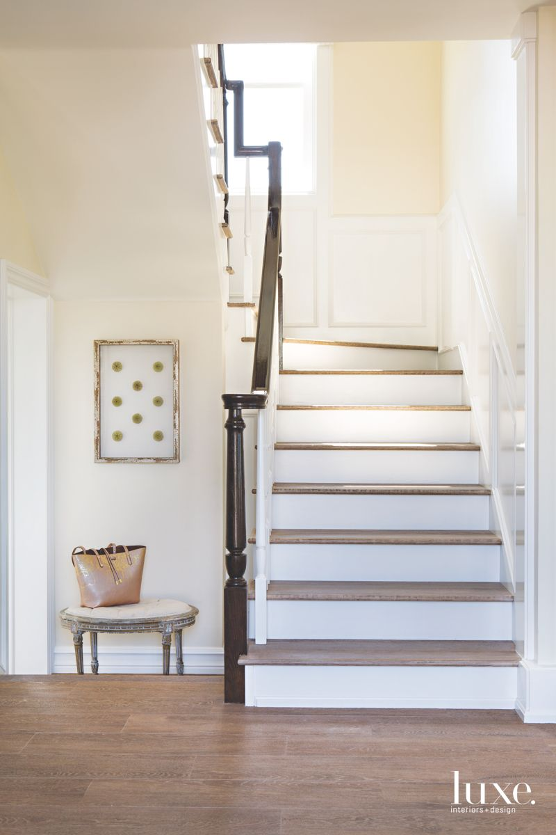 Wainscoting Adds Elegance to Beach House Staircase