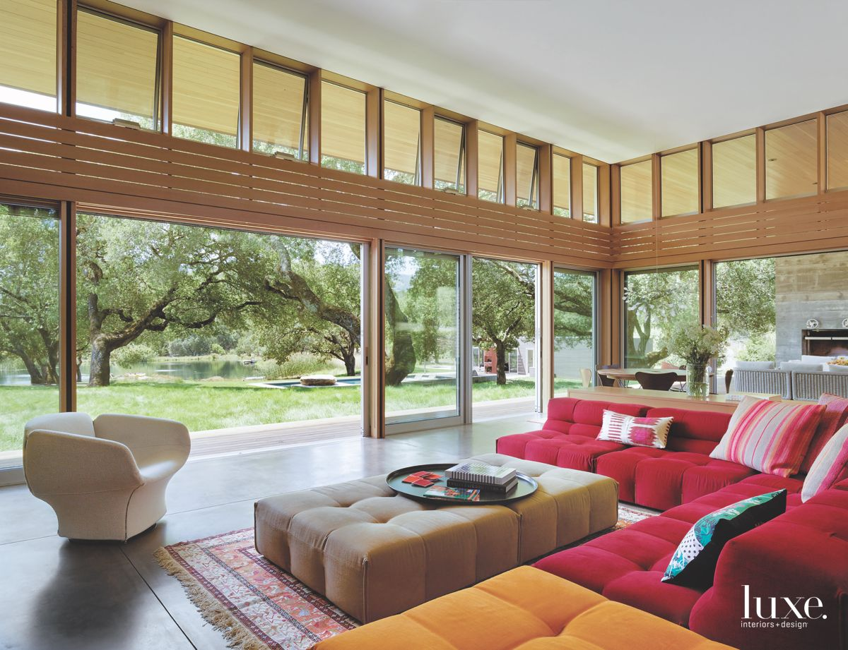 Sonoma Living Room With Floor-to-Ceiling Windows and Amazing Old Trees