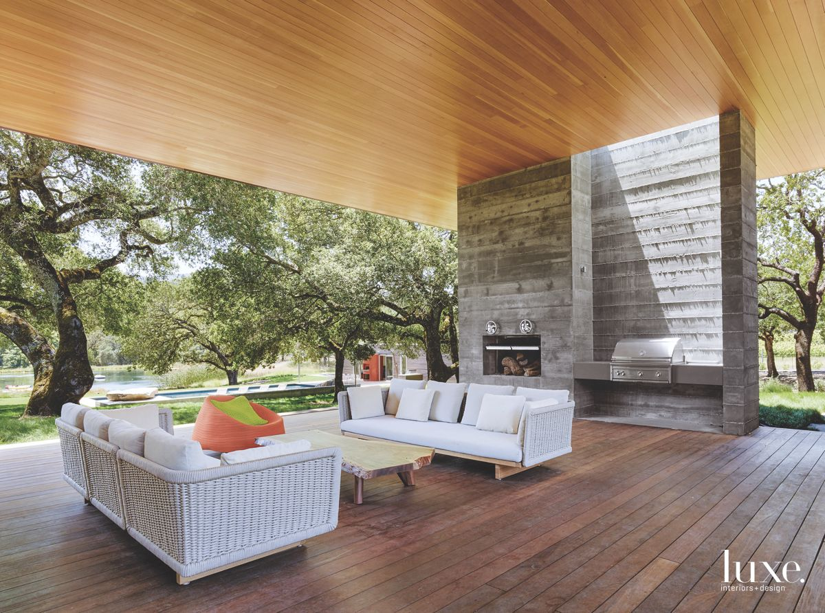 Covered Outdoor Living Room in Modern Sonoma Home