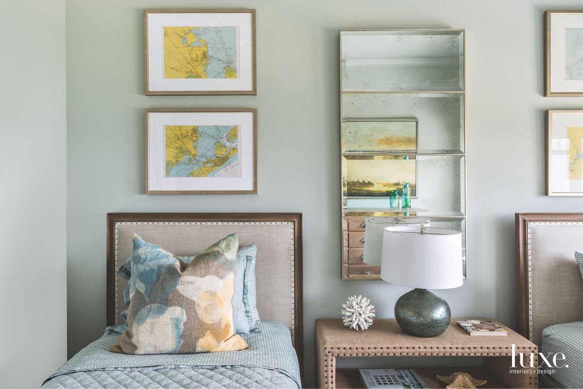 Nautical Charts Bring Beachy Pop to Galveston Guest Room