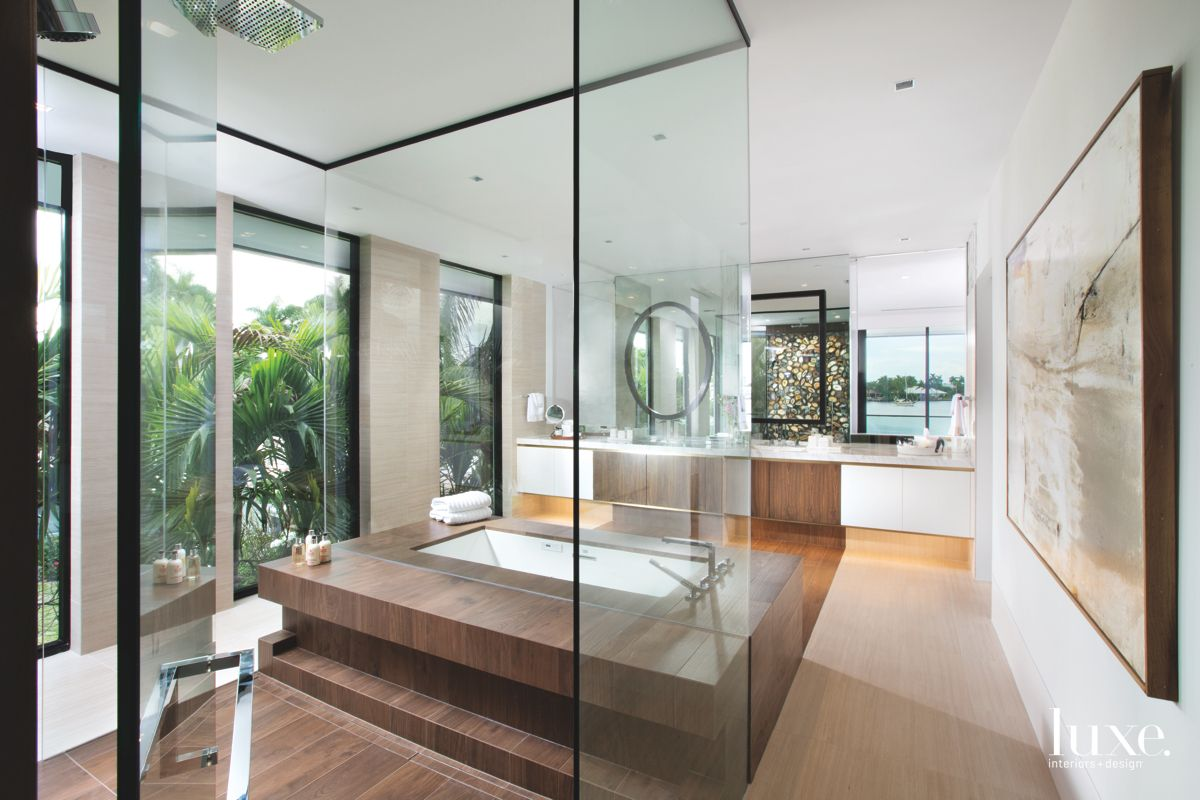 Fort Lauderdale Master Bath Clad in Glass & Mirrors