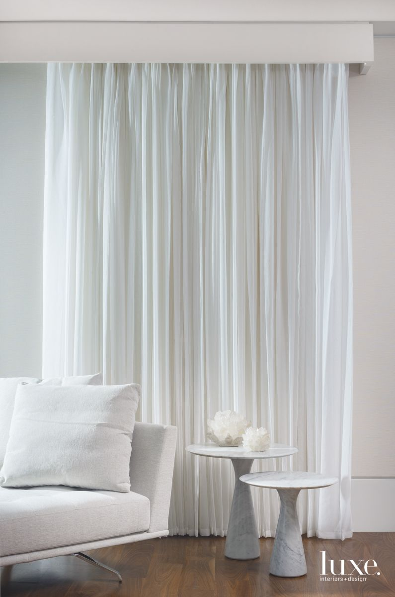 Soft Draperies Enhance Peaceful Fort Lauderdale Master Bedroom