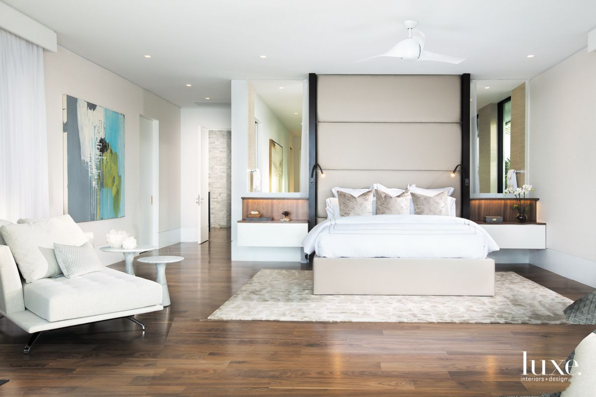 Contemporary White & Walnut Master Bedroom in Fort Lauderdale