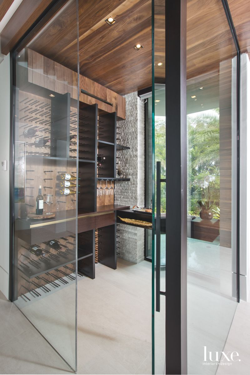 Custom Wine Room in Contemporary Fort Lauderdale Home