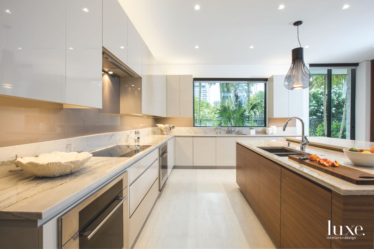 Walnut & Stone Contemporary Kitchen in Fort Lauderdale