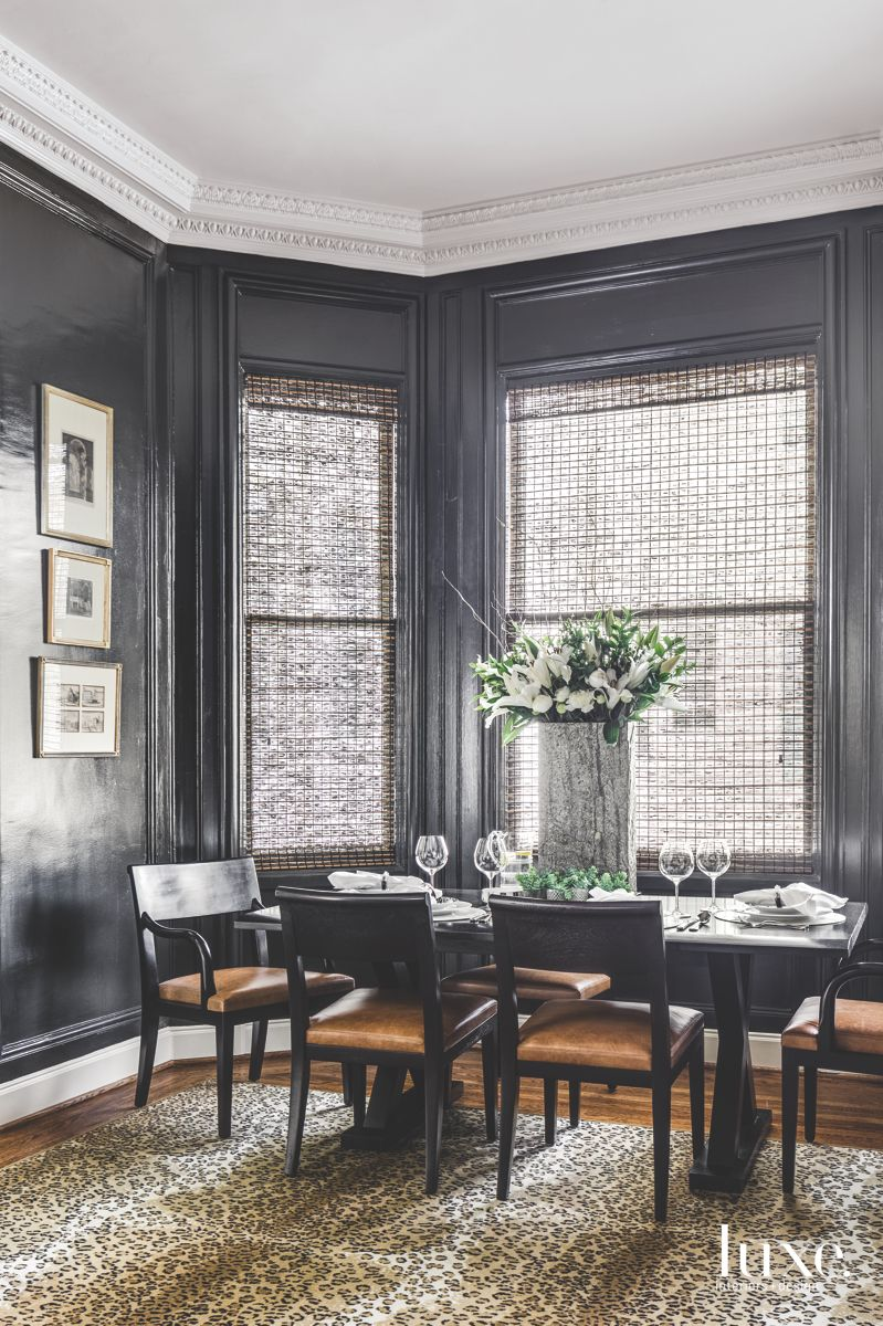 The Leopard Rug in This Black-Walled San Francisco Dining Room Proves Animal Prints Are A Neutral