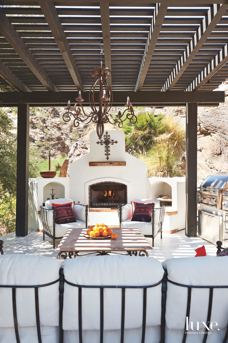White Plastered Outdoor Room with Fireplace Perfect for Palm Springs Evening Entertaining