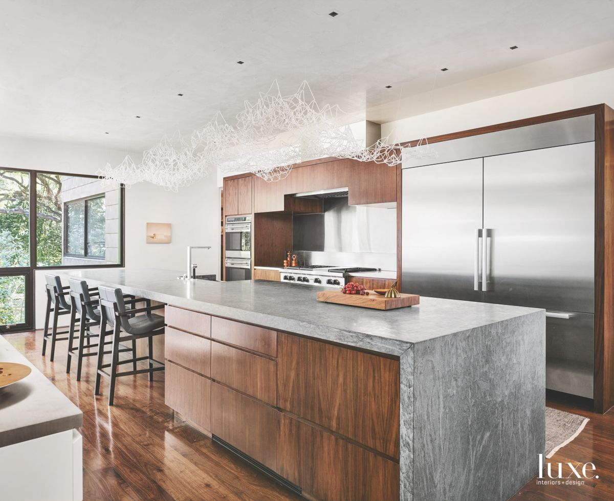 Modern San Antonio Kitchen Centered Around Art