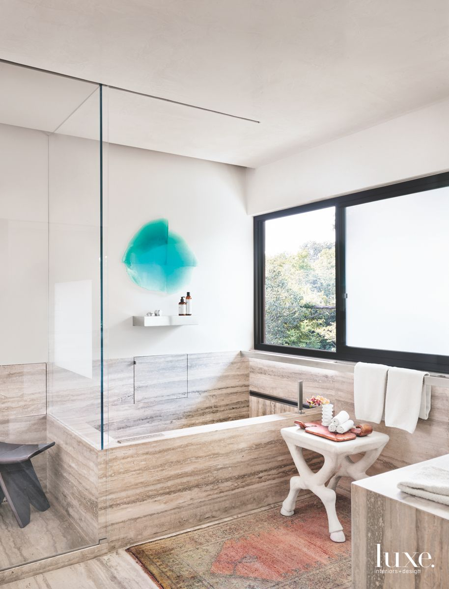 Nature and Art Inspire Modern San Antonio Master Bath