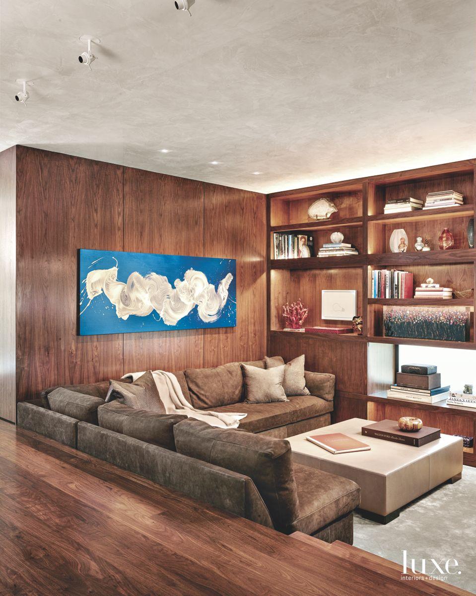 Wood-Paneled Den in Modern San Antonio Home