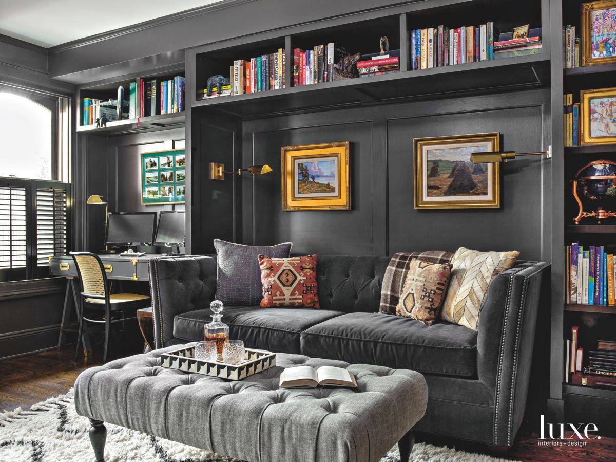 Dark Gray Paint Adds Sophistication to Built-In Cabinetry in Chicago Row House Den